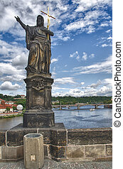 Statue on Karluv Most, Charles Bridge in Prague, Czech Republic