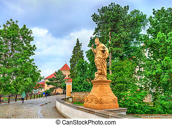 Statue on the bridge in Telc, Czech Republic - Statue on the...