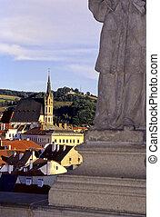 Cesky Krumlov- Czech Republic - Statue on the Plast'ovy most...