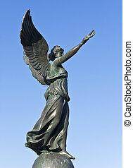 statue, rhodes, victoire, île, grèce