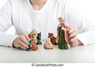 statue, saint, garçon, tient, noël, famille, berceau