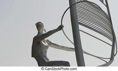 statue., sculpture, planche voile