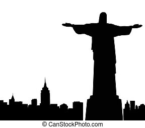 Silhouette of a statue sacred on a white background
