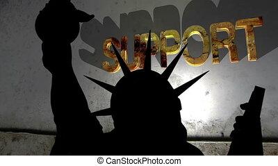 statue, soutien, contre, liberté, cassé, fond