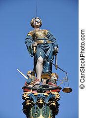 statue, themis, berne, suisse