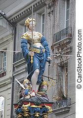 statue, themis, suisse, berne, historique, centre