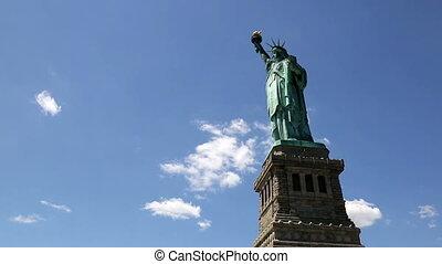 statue, timelapse, liberté, nuage