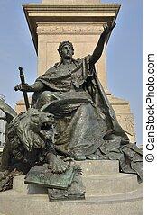 Bronze monument to Victor Emmanuel II in Venice on the avenue Riva degli Schiavoni, Venice, Italy.