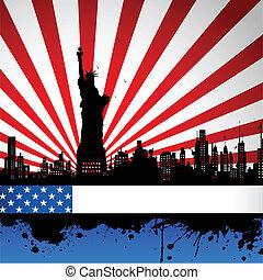 statue, toile de fond, drapeau, américain, liberté