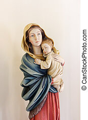 Statue Virgin Mary with baby Jesus