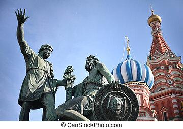 statue, von, kuzma, minin, und, dmitry, pozharsky, in, moskauer