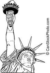 statue, von, liberty.