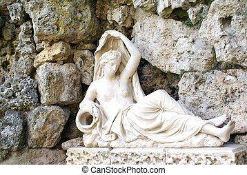 statue, von, sabrina, &, grotte, england