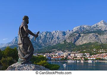 statue, von, st. peter, an, makarska, kroatien