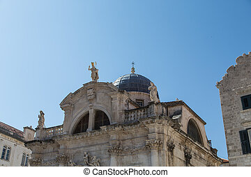 Statues by Church Dome in Dubrovnik