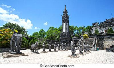 Statues at the tomb of Emperor Khai Dinh, Hue, Vietnam