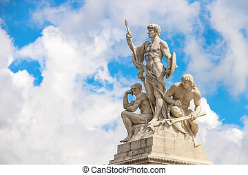 Statues in a monument to Victor Emmanuel II. Piazza Venezia, Rom