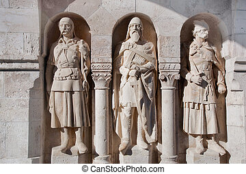 Statues in the wall of Fisherman's Bastion. Budapest, Hungary