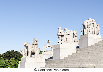 Statues in Vigeland park in Oslo details
