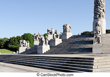 Statues in Vigeland park in Oslo horizontal
