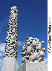 Statues in Vigeland park in Oslo, N