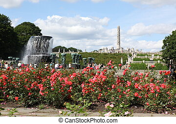 Statues in Vigeland park in Oslo, Norway . The park covers 80 acres and features 212 bronze and granite sculptures created by Gustav Vigeland