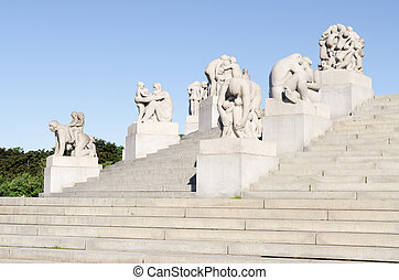Statues in Vigeland park in Oslo summer