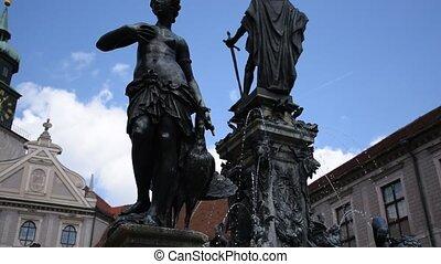 statues, munich, bronze, fontaine, intérieur, cour, résidence