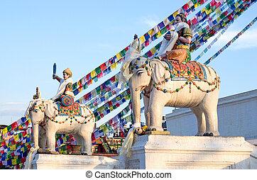 Statues near Boudhanath Stupa in Kathmandu