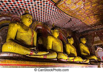 Statues of Buddha, Dambulla Cave Temple, Sri Lanka.