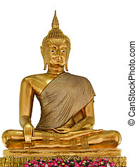 Statues of Buddha in gold on a white background.