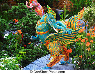 statues of Christmas bird animals in Thai literature.