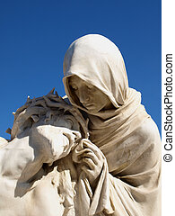 statues of holy mother and Christ - statues of holy mother...