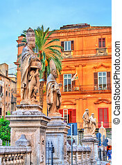 Statues of saints near the Cathedral in Palermo, Italy