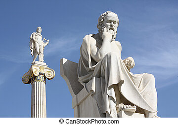 Statues of Socrates and Apollo in Athens, Greece - ...