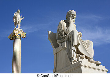 Statues of Socrates and Apollo in Athens, Greece -...