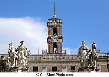 Statues of the Dioscuri on Piazza del Campidoglio in Rome, Italy