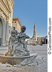 Our Lady of the Pillar square at Zaragoza, Spain