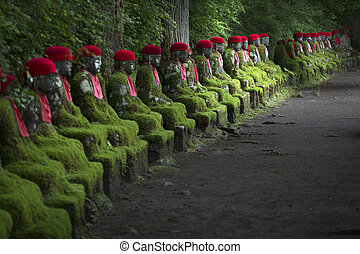 Statues on path