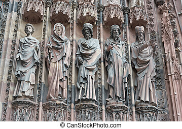 Statues on the facade of Strasbourg Cathedral