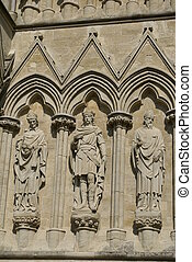 statues, Salisbury Cathededral, UK - sculptured religious...