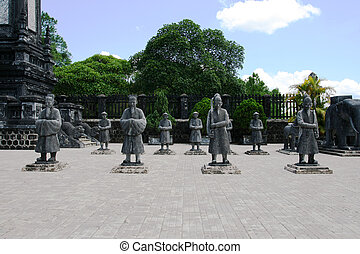 Statues Vietnam - Statues at the tomb of Emperor Khai Dinh, ...