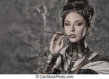 statuesque woman - Portrait of a beautiful steampunk woman...