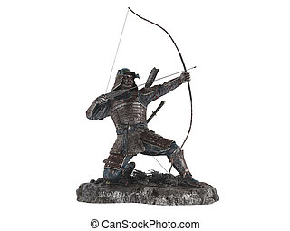Statuette archer isolated on white background