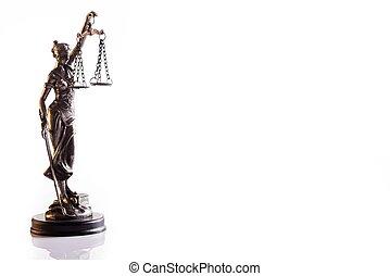statuette, de, les, déesse, de, justice, themis, à, balances