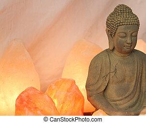 statuette, disciples, lit, bouddha, prière, pendant, méditation, sel, lampes