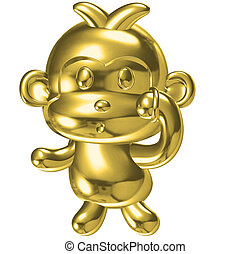 Statuette of a monkey and jewelry.3D rendering