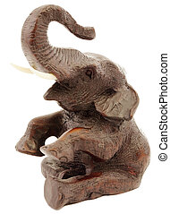 Statuette of elephant - Deep-brown statuette of elephant a...