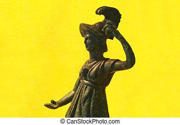 Statuette of Minerva in hollow molten bronze, from the Roman...
