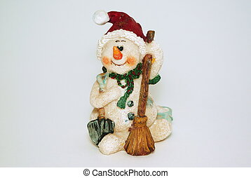Statuette of snowmen with broom
